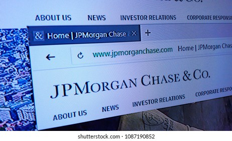 Minsk, Belarus - May 9, 2018: The homepage of the official website for JPMorgan Chase & Co., an American multinational investment bank and financial services company.
