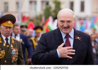 Minsk / Belarus - May 9, 2019: President of the Republic of Belarus Alexander Lukashenko speaks to people.  Leader of the Belarusian people