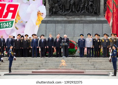 Minsk / Belarus - May 9, 2019: Belarusian statesmen and President of the Republic of Belarus Alexander Lukashenko speak at a state holiday