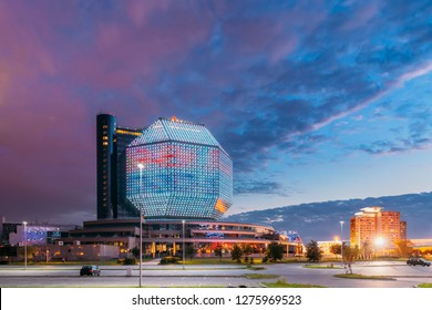 Minsk, Belarus. National Library Building In Summer Evening Sunset Time. Famous Landmark.