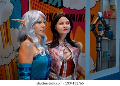 Minsk, Belarus - Nov 2018. Onyxia and Stellagosa - World of Warcraft. Cosplayers demonstrate their costumes, makeup and dressing skills at Game Expo. Unicon convention