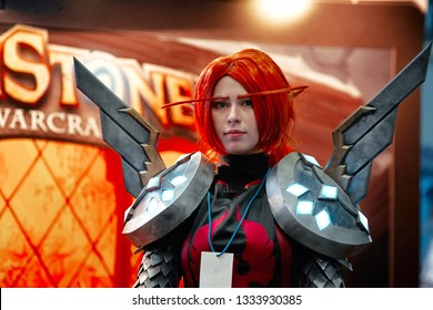 Minsk, Belarus - Nov 2018. Portrait of Lady Liadrin character from World of Warcraft. Charming blood knight Matriarch cosplayer at Unicon Convention demonstrate  costumes at Game Expo