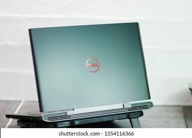 Minsk, Belarus - November 08, 2019: black laptop Dell G5 15 inches.