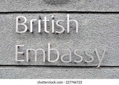 MINSK, BELARUS - NOVEMBER 1: Sign of British Embassy on the wall in Minsk on November 1, 2014. The United Kingdom of Great Britain and Northern Ireland is a sovereign state in Europe.