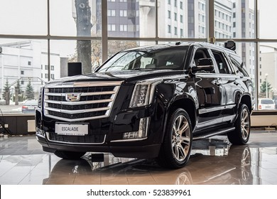 MINSK, BELARUS - NOVEMBER 15, 2016: 2016 model year Cadillac Escalade in the dealer's showroom. Cadillac Escalade is a perfect combination of sophistication, functionality and technology.