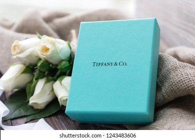 Minsk, Belarus. November, 2017. Tiffany jewellery gift box. Present. Flowers. Best gift for Valentines Day and Mothers day. 8 march. Engagement and wedding. Gift card.