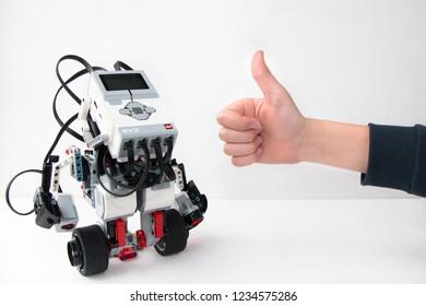 Minsk, Belarus. November, 2018.  Girobot Lego Mindstorms EV3 Robot on the white background. Concept of modern training. The hottest gadgets. E-learning. Modern teaching technology. STEM education.