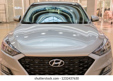 Minsk, Belarus. November, 2018. The new model of the popular Korean car Hyundai Tucson, IX 35.Headlight. The palletized car is exposed for sale in a huge shopping center.