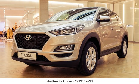 Minsk, Belarus. November, 2018. The new model of the popular Korean car Hyundai Tucson, IX 35.Headlight. The palletized car is exposed for sale in a huge shopping center.