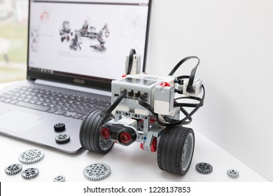 Minsk, Belarus. November, 2018.  Robotic car. Robot Lego Mindstorms EV3. STEM education. Hand show like. Technology and programming robotics.