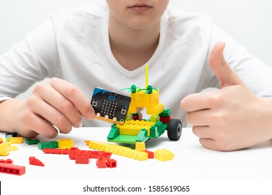 Minsk, Belarus. November, 2019. The BBC robot Micro Bit and lego car. It can be programming on Scratch or Python. Creative, coding, learning, teaching easy and fun. STEM and STEAM education. AI. DIY.