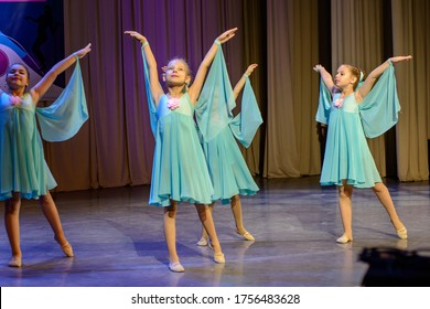 Minsk, Belarus, November 24, 2019. A dance group for children performs on stage.