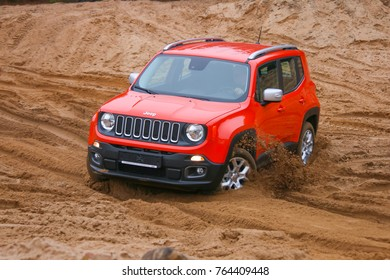 MINSK, BELARUS NOVEMBER 28, 2017: New Jeep Renegade 4x4 limited at the test drive event for automotive journalists from Minsk