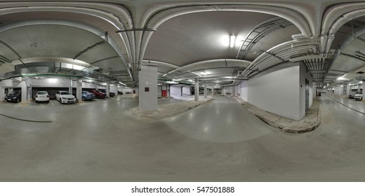 Minsk, Belarus - November 3, 2016:  Full 360 panorama in equirectangular spherical projection of Underground parking in the business center of Minsk