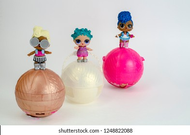 Minsk, Belarus - November 30, 2018: Cute little L.O.L. Surprise dolls on balls. LOL - Lil Outrageous Littles surprise toy from MGA Entertainment, also create toys: Lalaloopsy, Num-Noms, Bratz.