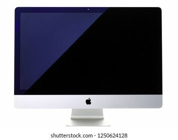 Minsk, Belarus - November 30, 2018: Apple all in one 27 inches computer closeup isolated over white background with clipping mask. Illustrative Editorial