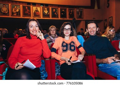 MINSK, BELARUS November 4 2017 International Illusion Festival MAGIC 2017 A group of people are sitting in the auditorium