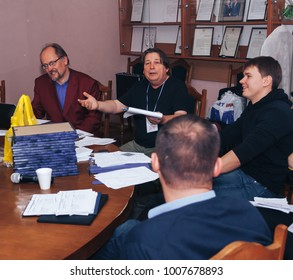 MINSK, BELARUS November 5 2017 International Illusion Festival MAGIC 2017 A group of people are sitting at a meeting table