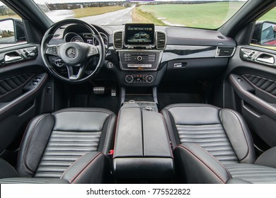 MINSK, BELARUS - NOVEMBER 7, 2017: Mercedes-AMG GLE 43 4MATIC Coupe on a test-drive. Photo of the interior with black leather trim and sport seats.