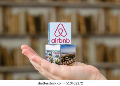 Minsk, Belarus - November 9, 2016: Airbnb fashion trend for housing search service for traveling around the world.