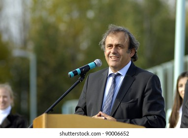 MINSK, BELARUS - OCTOBER 04: UEFA President Michel Platini speaks during a construction work commencement of a building of the National Football Team Training Center on October 04, 2011 in Minsk, Belarus