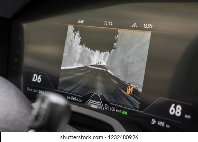 MINSK, BELARUS - OCTOBER 2, 2018: Night vision automotive system of the third generation of Volkswagen Touareg. Camera broadcasts image from the night vision system to the digital instrument panel.