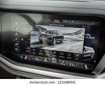 MINSK, BELARUS - OCTOBER 2, 2018: Advanced multimedia and infotainment system of the third generation of Volkswagen Touareg with 15-inch touch screen.