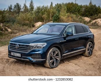 MINSK, BELARUS - OCTOBER 2, 2018: Third generation of Volkswagen Touareg off road during test drive event.