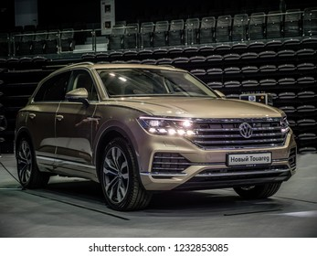 MINSK, BELARUS - OCTOBER 2, 2018: Third generation of Volkswagen Touareg at the presentation in Minsk, Belarus.