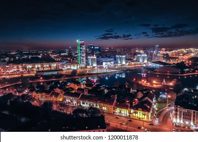 Minsk / Belarus - October 2018: Aerial night view of Minsk