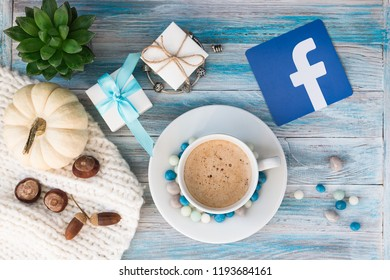 Minsk, Belarus. October, 2018. Pictured from the paper logos of the popular Social Network Facebook. Concept.