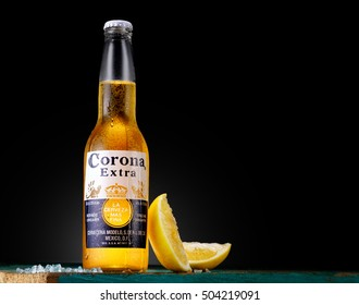 MINSK, BELARUS - OCTOBER 25, 2016: Bottle of Corona Extra beer, one of the top-selling beers worldwide is a pale lager produced by Cerveceria Modelo in Mexico