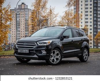 MINSK, BELARUS - OCTOBER 25, 2018: Photo of a modern SUV Ford Kuga Titanuim parked outside.
