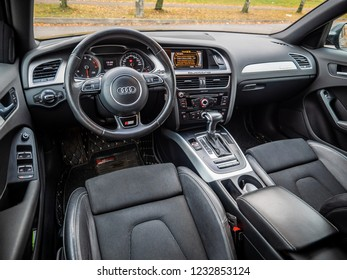MINSK, BELARUS - OCTOBER 25, 2018: Interior of a modern sedan Audi A4 Quattron with alcantara-trimmed seats, metallic trim and power-operated front seats.