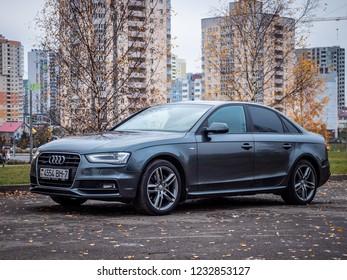 MINSK, BELARUS - OCTOBER 25, 2018: Photo of a modern sedan Audi A4 Quattro parked outside.