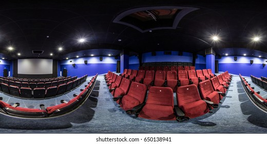 MINSK, BELARUS - OCTOBER 27, 2015: Full 360 degree panorama in equirectangular equidistant spherical projection in the cinema hall. VR content