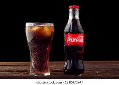 MINSK, BELARUS - October 29, 2018: Cold glass of Coke bottle