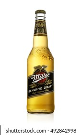 MINSK, BELARUS - October 3, 2016: Miller Genuine Draft is the original cold filtered packaged draft beer, a product of the Miller Brewing Company owned by SABMiller.