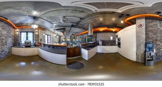 MINSK, BELARUS - OCTOBER 31, 2015: Panorama in interior kitchen dinner room  in modern coworking. Full 360 by 180 degree seamless panorama  in equirectangular spherical projection. VR AR content
