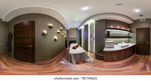 MINSK, BELARUS - OCTOBER 31, 2015: Panorama in interior stylish beauty spa massage saloon. Full 360 by 180 degree seamless panorama  in equirectangular spherical projection. VR AR content