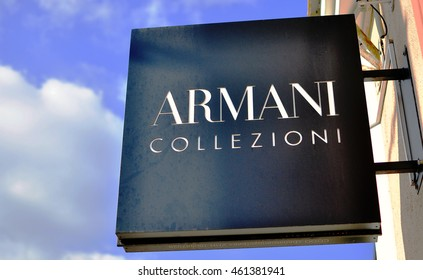 MINSK, BELARUS - OCTOBER 4: Logotype of Armani Collezioni store in the street of Minsk on October 4, 2014. Armani Collezioni is an italian world famous fashion brand.