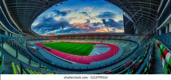 Minsk, Belarus - Okt 3, 2018: Interior view of National Olympic Stadium Dinamo in Minsk, Belarus. home ground of Dinamo Minsk, and the Belarus national football team