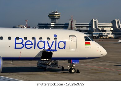 MINSK, BELARUS - SEP 10, 2019: Minsk National Airport - main international airport in Belarus on September 10, 2019 in Minsk, Belarus. It was open on July 1, 1983 and used as Hub for Belavia airlines.