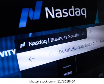 Minsk, Belarus - September 05, 2018: The homepage of the official website for The Nasdaq Stock Market, also known simply as Nasdaq, an American stock exchange.