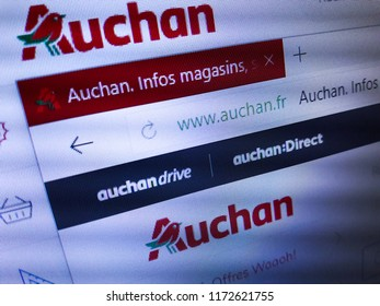 Minsk, Belarus - September 05, 2018: The homepage of the official website for Groupe Auchan SA, a French international retail group and multinational corporation headquartered in Croix, France.
