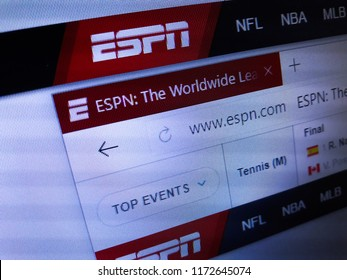Minsk, Belarus - September 05, 2018: The homepage of the official website for ESPN, a U.S.-based global pay television sports channel owned by ESPN Inc.
