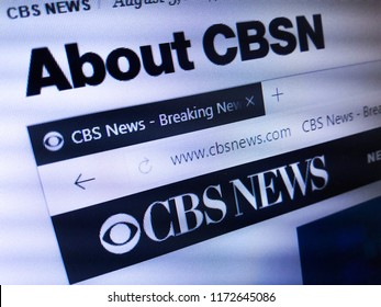 Minsk, Belarus - September 05, 2018: The homepage of the official website for CBSN, a streaming video news channel operated by the CBS News and CBS Interactive divisions of CBS Corporation
