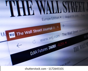 Minsk, Belarus - September 05, 2018: The homepage of the official website for The Wall Street Journal, a U.S. business-focused, English-language international daily newspaper based in New York City.