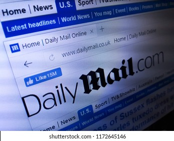 Minsk, Belarus - September 05, 2018: The homepage of the official website for The Daily Mail, a British daily middle-market tabloid newspaper published in London.