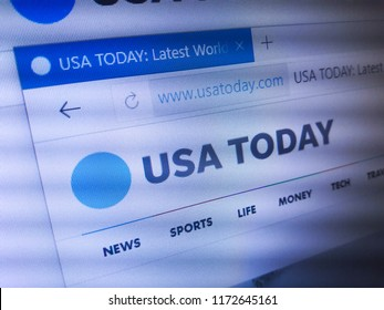 Minsk, Belarus - September 05, 2018: The homepage of the official website for USA Today, an internationally distributed American daily, middle-market newspaper